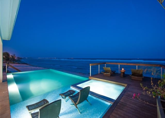 "Pool at Night - 4 Bedroom Luxury Oceanfront Villa w/ Pool and Spa  ""Present Moment"" - Bodden Town - rentals"