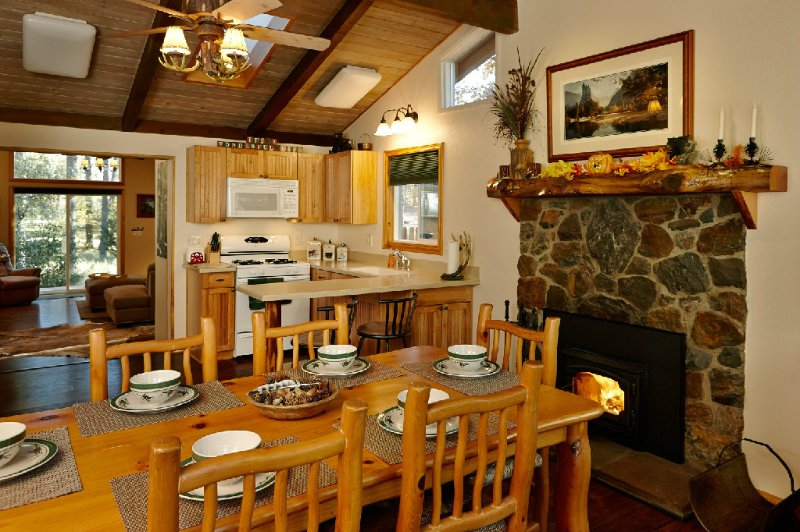 """Dining Area with Rock Fireplace - Cozy Nestled """"In The Pines"""" Home - Idyllwild - rentals"""
