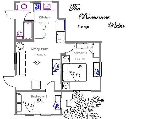 Floor plan - Palm Place Unit  3 - Buccaneer Palm 500 sqft of tastefully furnished beach getaway. - Clearwater Beach - rentals