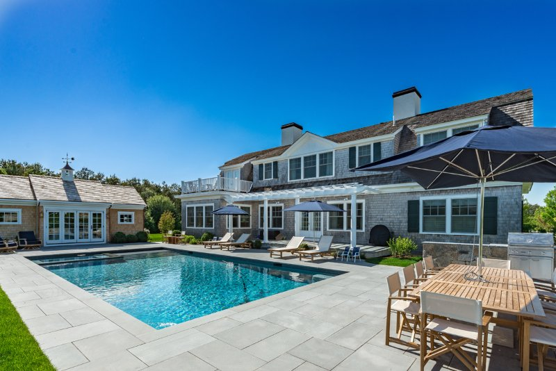 Pool Pool House and Outdoor Dining Area - YAEGM - Field Club, Exquisite New Luxury Home Offering for 2016, Heated Pool - Edgartown - rentals