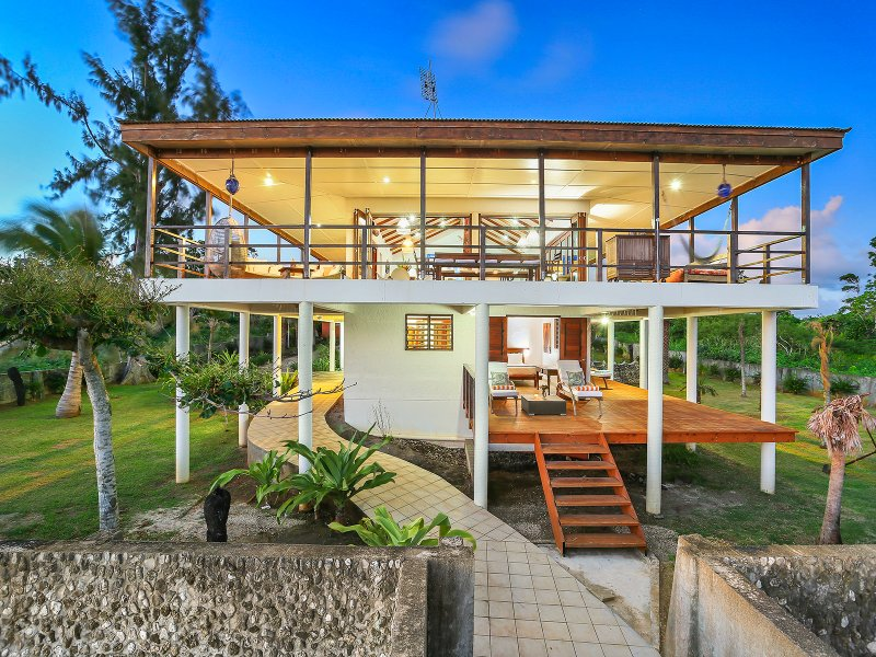 View of main villa from the sea side at night - Magical Ocean front Villa 'Senang Masari' - Port Vila - rentals