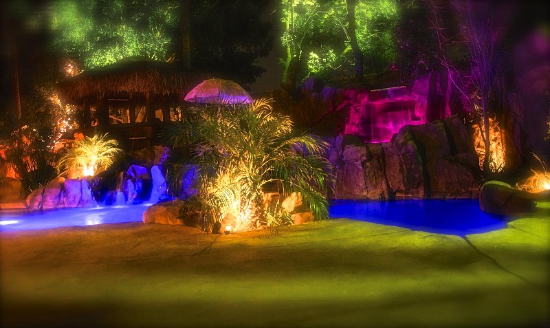 Pool at Night - The Enchanted Manor- Tropical Paradise - North Hollywood - rentals