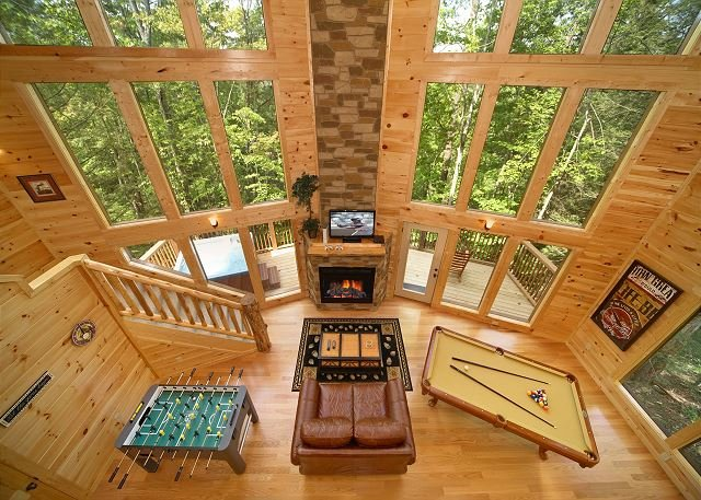 2 Bedroom Cabin with 28 Foot Wall of Glass Great Room and 18 Foot Rain Shower - Image 1 - Gatlinburg - rentals