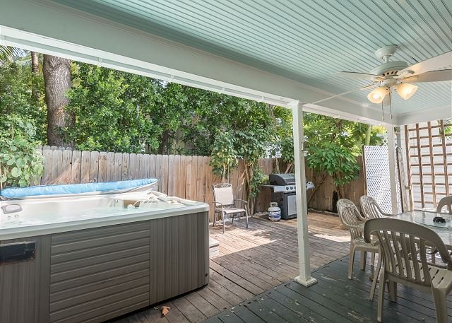 Private outdoor space with covered seating area - Amelia House- Private Hot Tub, Half Block To Duval St - Sleeps 8! - Key West - rentals