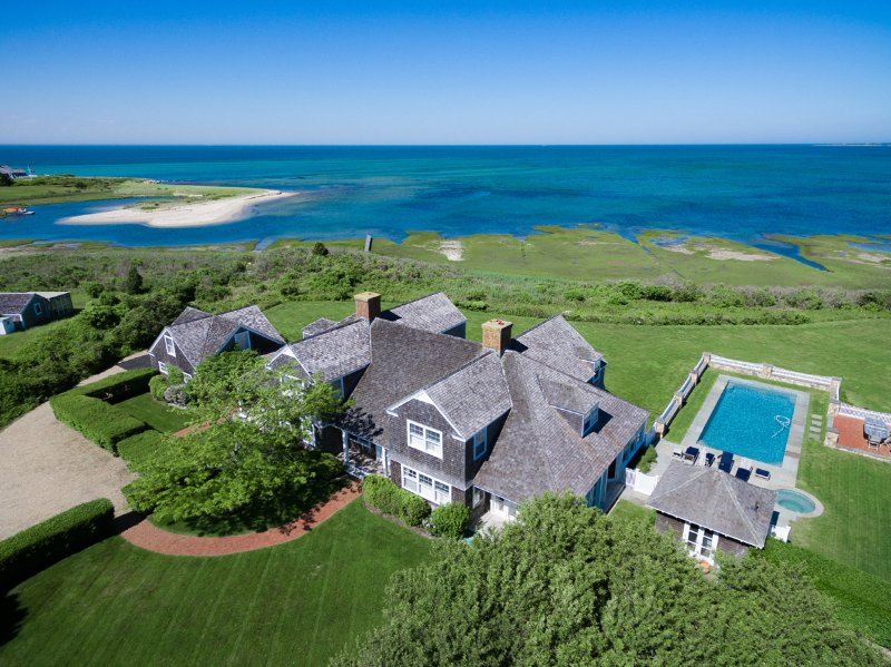 Aerial View of Grogeous Estate Waterfront Home with Heated  Pool - AGARH - Luxurious Estate Home,  Waterfront,  18 x 40 ft Heated Pool, Hot Tub - Edgartown - rentals