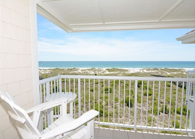 View of the ocean from Wrightsville Dunes 3C-H - Wrightsville Dunes 3C-H - Oceanfront condo with community pool, tennis, beach - Wrightsville Beach - rentals