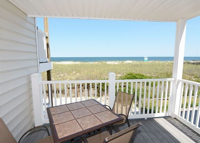 Beach Front Oasis Ocean view from desk - Beach Front Oasis - Oceanfront condo just steps away from the sandy beach - Carolina Beach - rentals