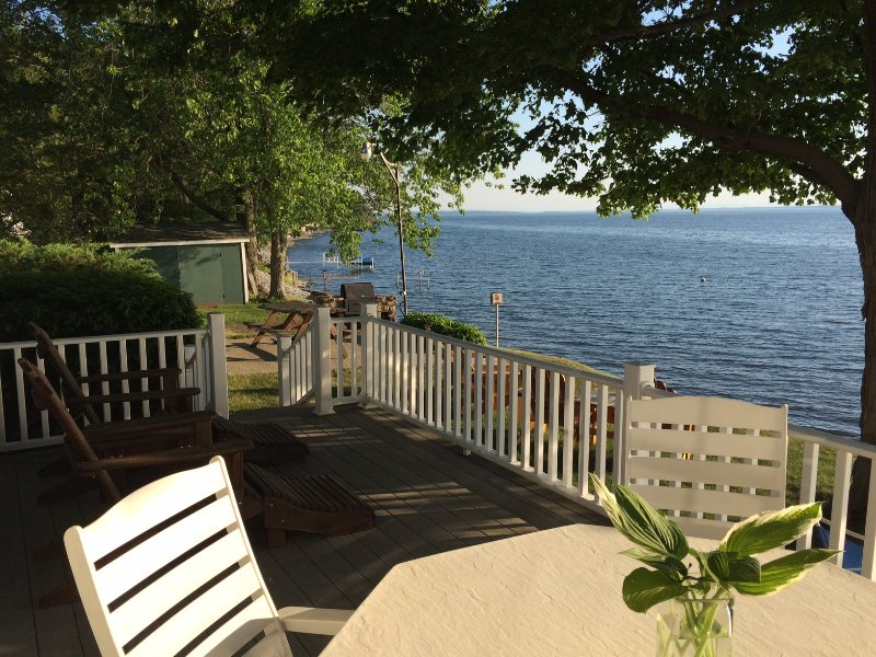 From deck looking south - 2017 August Special Rate!  Lake Champlain Sunsets-Cottage style Gem. - Burlington - rentals