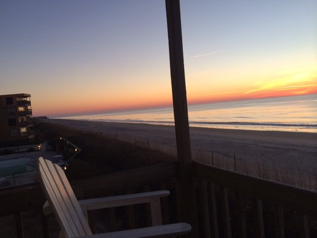 Sunrise from balcony - Topsail Dunes - Newly renovated Ocean Front Condo - North Topsail Beach - rentals