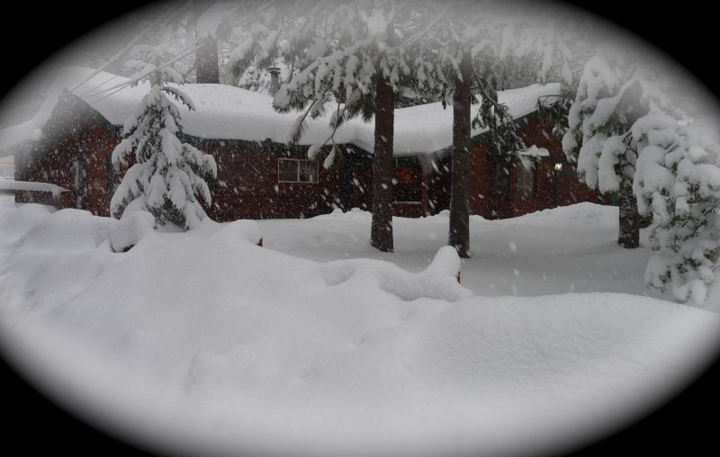 Front view of cabin after a snow storm - Perfect Tahoe Cabin - Pet Friendly - South Lake Tahoe - rentals