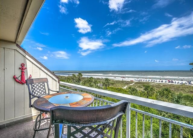 Patio/View - 313 Breakers-Direct Oceanfront, you can't beat this view! Oceanfront Pool - Hilton Head - rentals