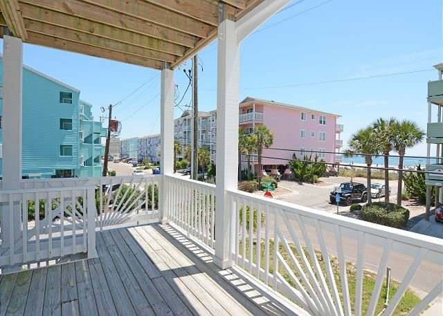 Cool Surf - Lower ocean side deck - Cool Surf - 5 Bedroom Oceanview Duplex Sleeps 12 - Carolina Beach - rentals