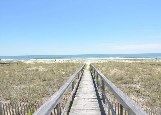 Ebbtide - Walkway to the beach - Ebbtide - Kure Beach oceanfront home with screened porch, private beach access - Kure Beach - rentals