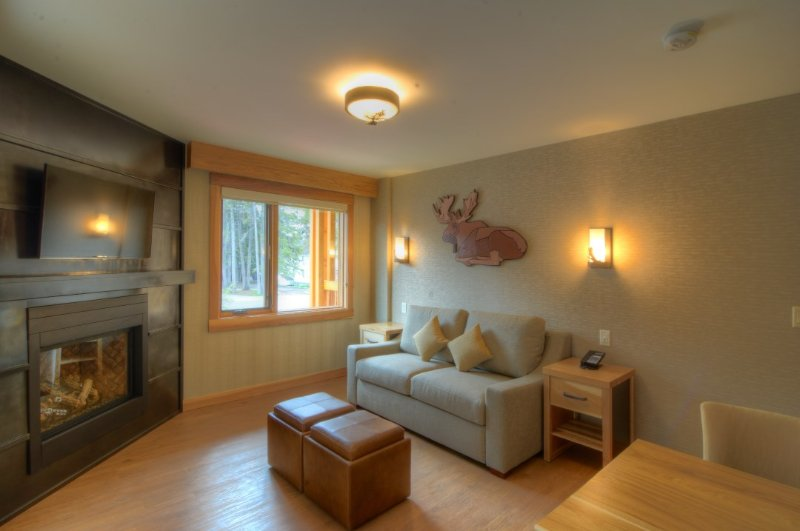 Spacious, light living area with cozy fireplace - Banff Moose Hotel and Suites Superior 1 Bedroom Suite - Banff - rentals
