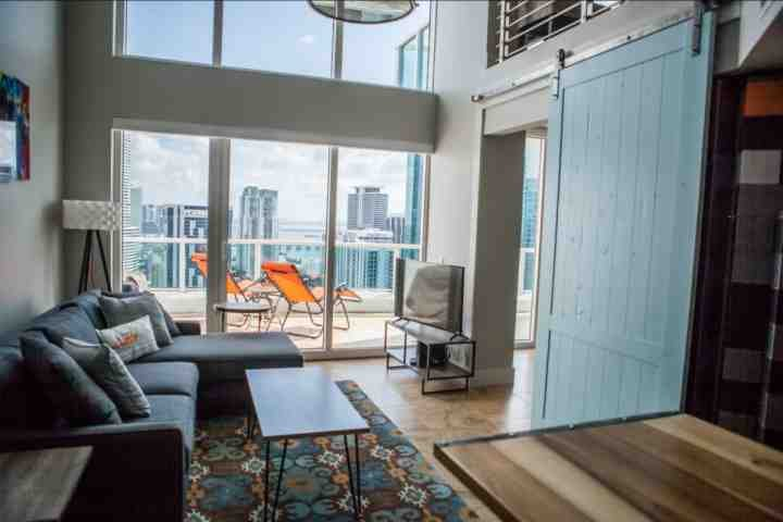 Modern style living room area with spectacular views! - **Winter Promo** Luxury Waterfront Penthouse Loft in Upscale Brickell Complex Near South Beach - Miami - rentals
