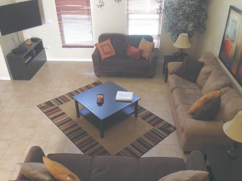 View of family room from stairs - Disney Quiet, Spacious / Salt Water Pool & Spa - Davenport - rentals