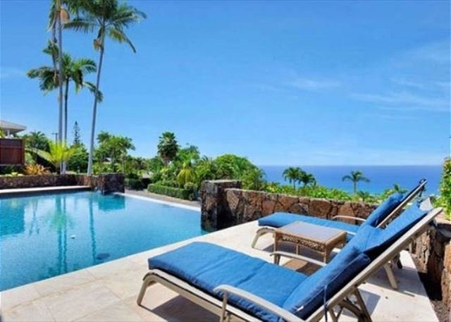 Lounge Poolside with Great Ocean Views - Infinity Pool with Panoramic Ocean Views! Relax and enjoy Ailina House - Kailua-Kona - rentals