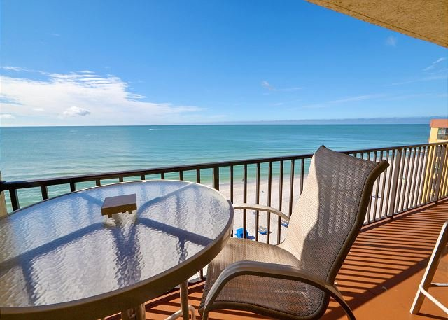 Gulf Front Balcony with Seating - Las Brisas 504 - Top Floor Gulf Front- New Kitchen with Granite Counters! - Madeira Beach - rentals