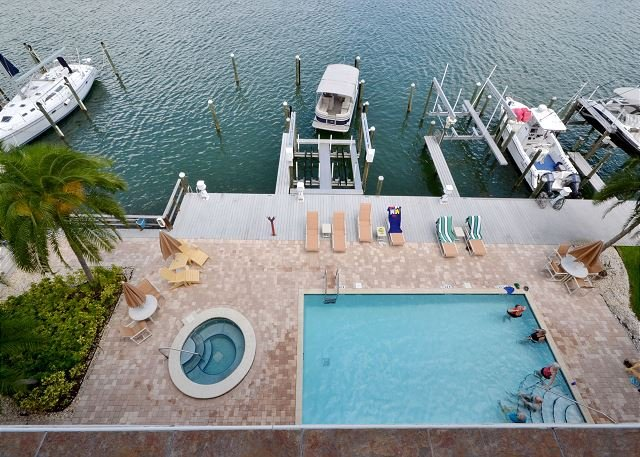 View from the balcony - Island Key Condo 402  - Clearwater Beach Penthouse -Double Balcony, Pool, Spa - Clearwater Beach - rentals