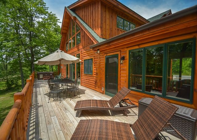 Deck - Exceptional 5 Bedroom Log Home with Luxury Accomodations! - McHenry - rentals