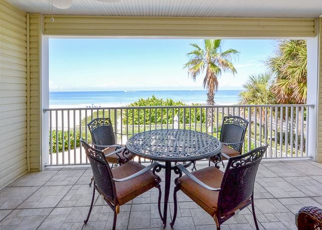Gulf front balcony with seating - SeaSide 102 - Outstanding Gulf Front Three Bedroom Condo with Pool in 4-Plex! - Indian Rocks Beach - rentals