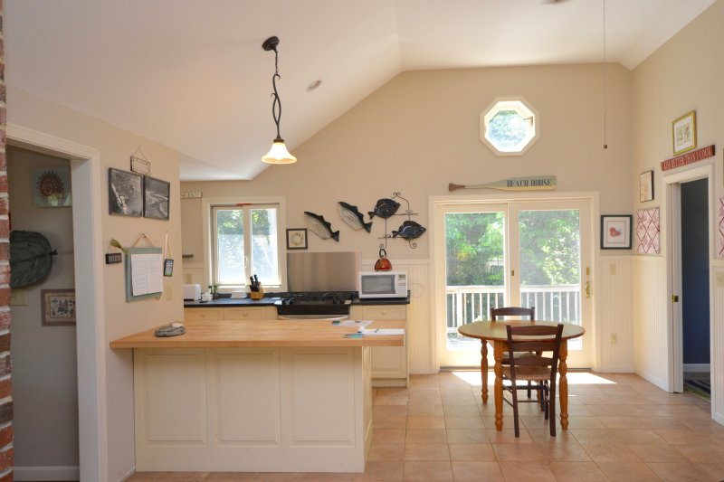 Beautiful open Kitchen with marble counters, and butcher block island - Just Listed! 0.8 Miles from Nauset Beach - Orleans - rentals