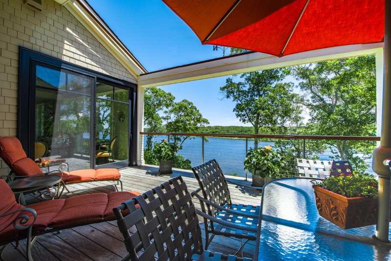 Deck off of Living Room - JOHST - Captivating, Luxury Waterfront Vacation Home,  Sweeping Waterviews - Vineyard Haven - rentals