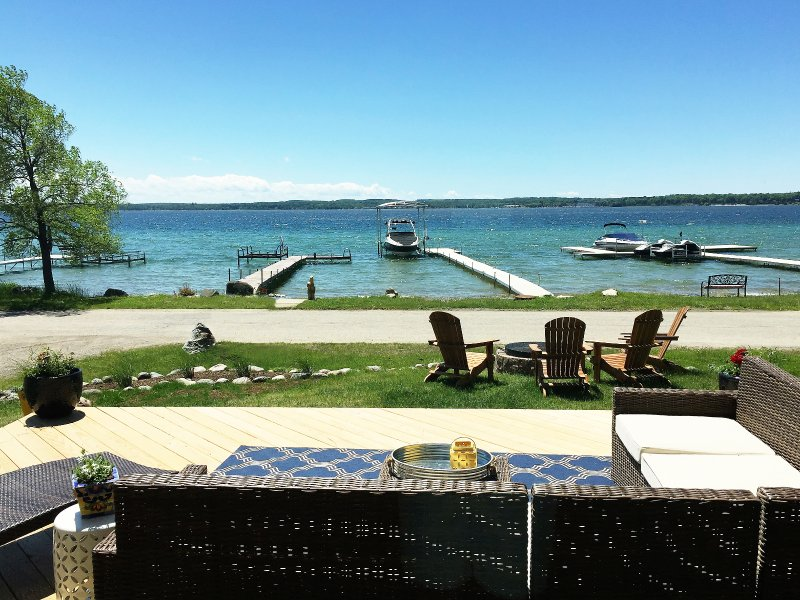 View from just inside the living room window.  Private dock on the left - 3 Weeks Still Available for Summer 2017 - Charlevoix - rentals