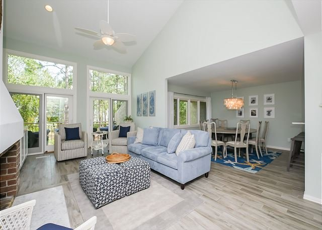 2nd Floor Main Living Area - 1464 Sound Villa - Fully Renovated - Gorgeous views of the Calibogue Sound! - Hilton Head - rentals