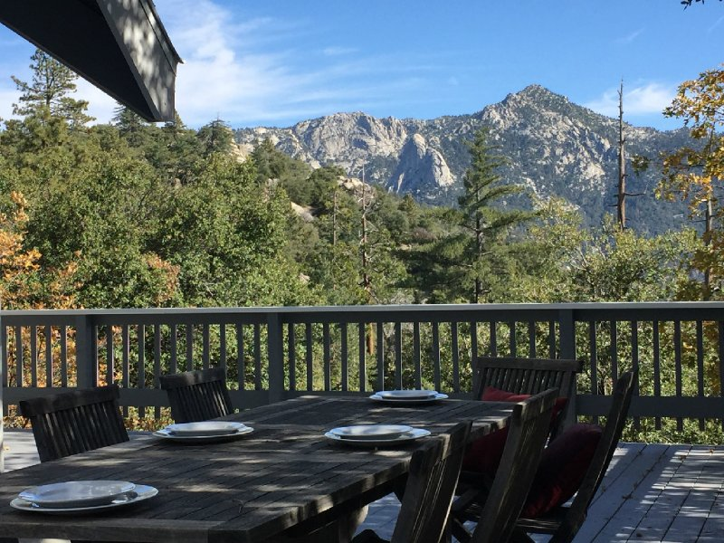 Deck with Monument Views of Lily Rock - Highgrove Retreat Luxury Mountain Cabin With Views - Idyllwild - rentals
