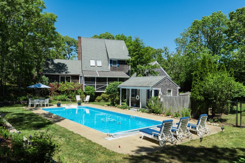 Pool & Patio, looking back at house - GOLDF - Outstanding Summer Home with Pool, Screened Porch, Beautiful Decor, AC, Wifi, Association Tennis Courts. - Oak Bluffs - rentals