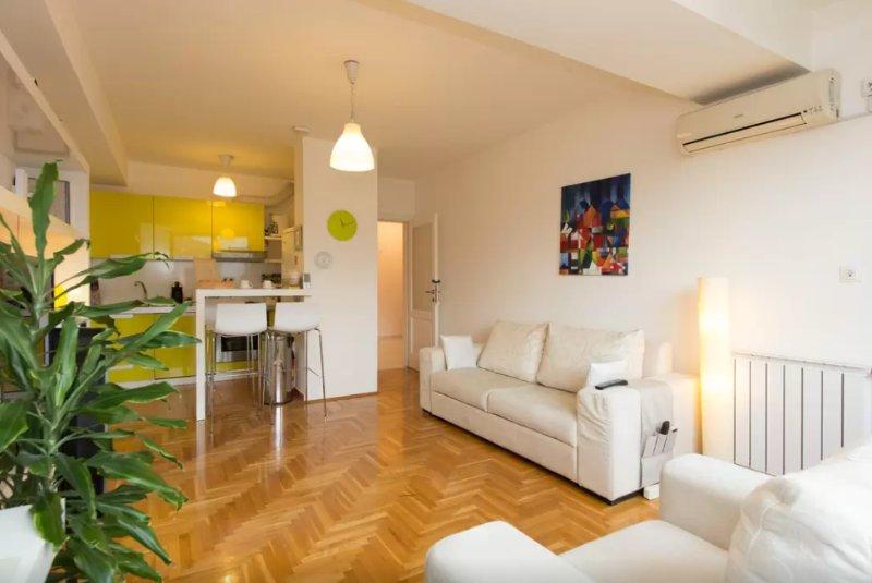 Living room - hardwood floor across - Modern Apartment in Sarajevo - Sarajevo - rentals