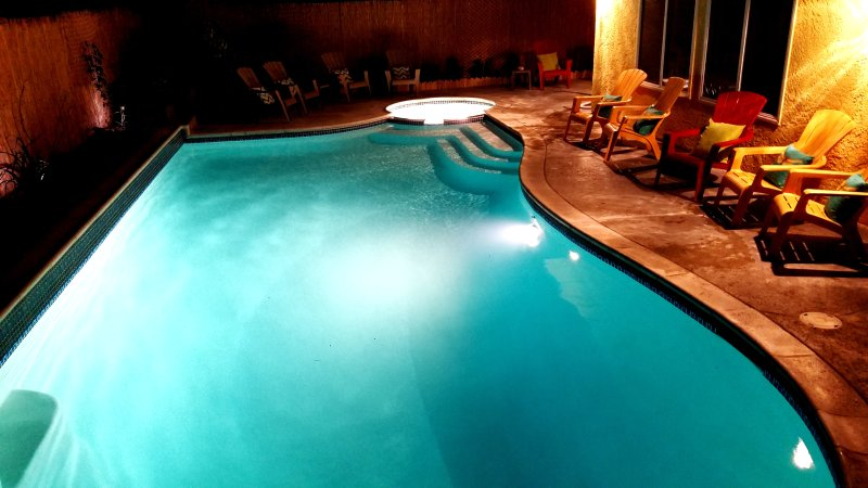 Take a relaxing swim at night in this exotic pool & spa. - Pet Friendly Vacation Home by Disney w Pool/Spa - Anaheim - rentals