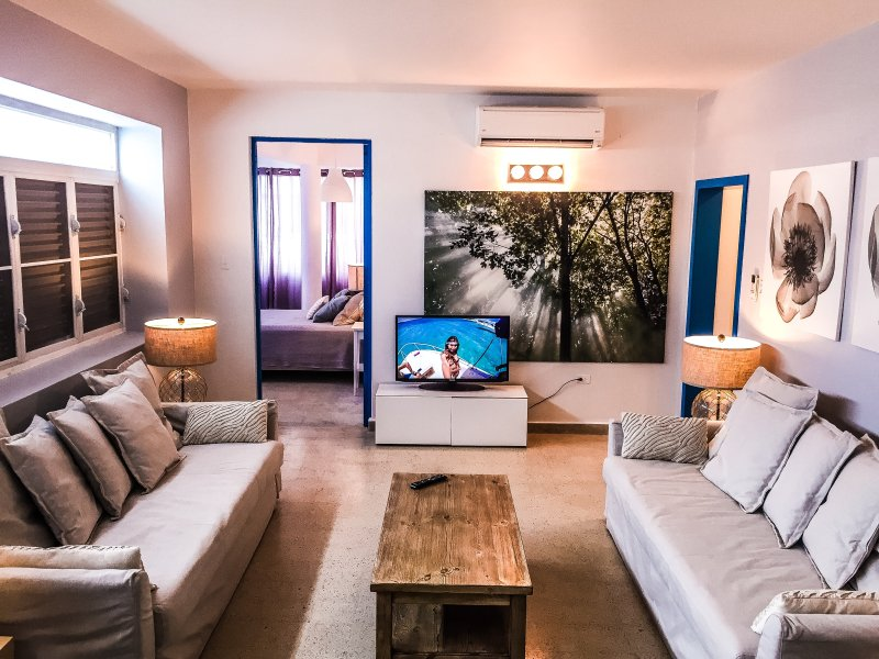 "Living Area with two full-size sofa beds and A/C - ""Sea Star"" Magnificent of Condado - San Juan - rentals"