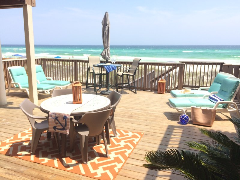 Huge deck with three tables loveseat & four lounges! - IRRESISTIBLE! HUGE 4BR GULF FRT *PRIVATE BEACH! - Destin - rentals