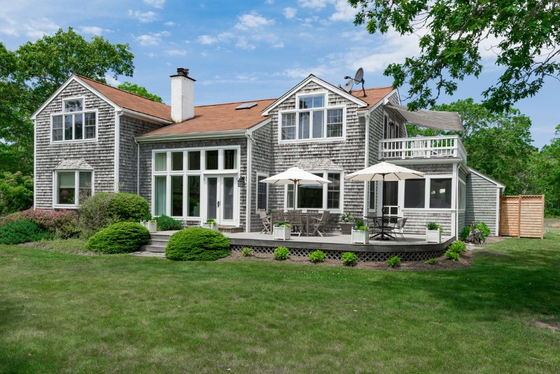 Yard Side of House, Decks and Screened Porch - SINCL - Oyster Pond  House, All New Renovation being completed for 2016.  Set on 11 Private Acres, 10 minute drive to Edgartown, Oak Bluffs, Long Point Beach and or South Beach - Martha's Vineyard - rentals