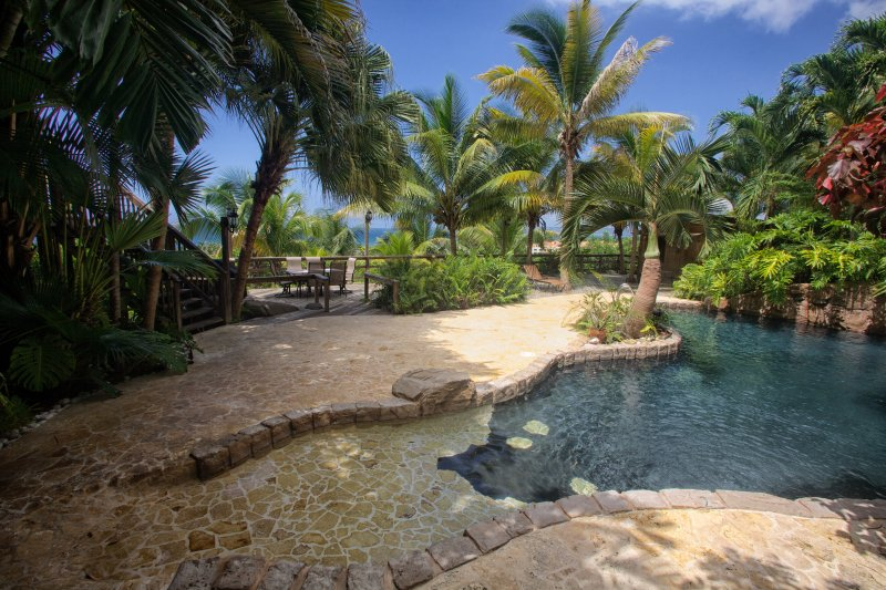The resort quality, lagoon pool with waterfall and grotto. - Private Luxury Villa with Lagoon Pool & Concierge - Rincon - rentals