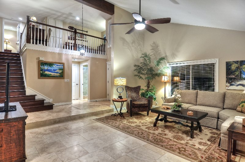 Unit A: Living room and stairs to loft - 5 condo group sleeps 48, steps to the beach! - San Clemente - rentals