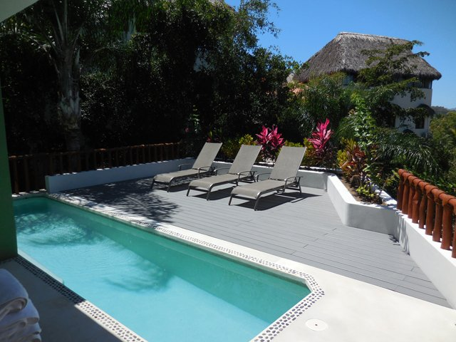 Cherimoya terrace and heated saltwater pool - Villa Cherimoya -Private Pool - Walk to Beach/Town - Sayulita - rentals