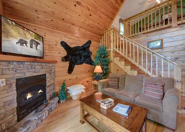The sofa opens into a bed for 2 - Cub's Cove  Near Downtown Views King Bed Jetted Tub WiFi   Free Nights - Gatlinburg - rentals