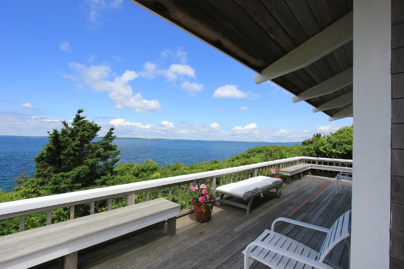 Waterfront Side of House and Deck with Panoramic Views - NAGIP - Split Rock House - Waterfront Makonikey, Private Association Beach - West Tisbury - rentals