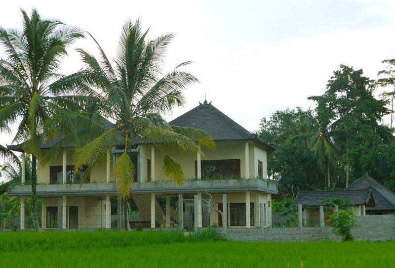 The front of the house from the rice fields - 4 bedroom house in Ubud,  Uma Capung Mas - Ubud - rentals