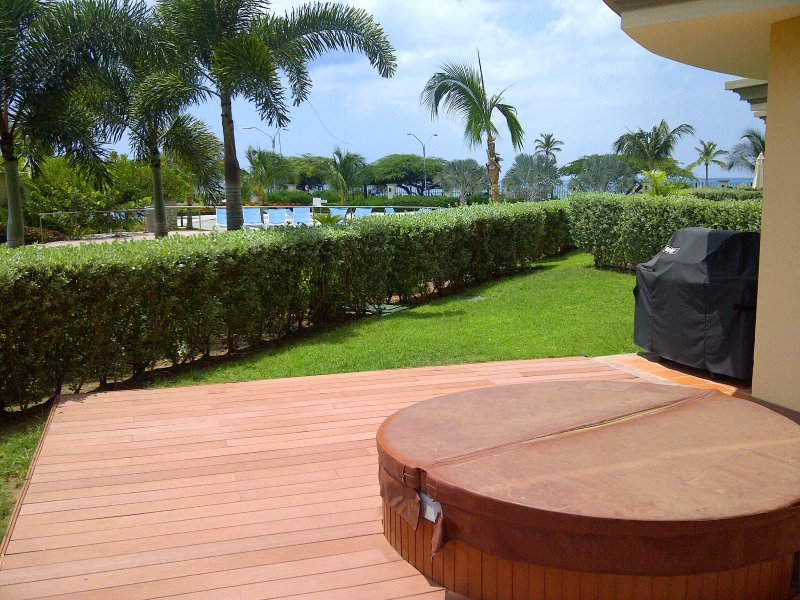 View of the garden and your private outdoor Jacuzzi and BBQ right outside your living room - Beach Garden Two Bedroom condo - E124 - Eagle Beach - rentals