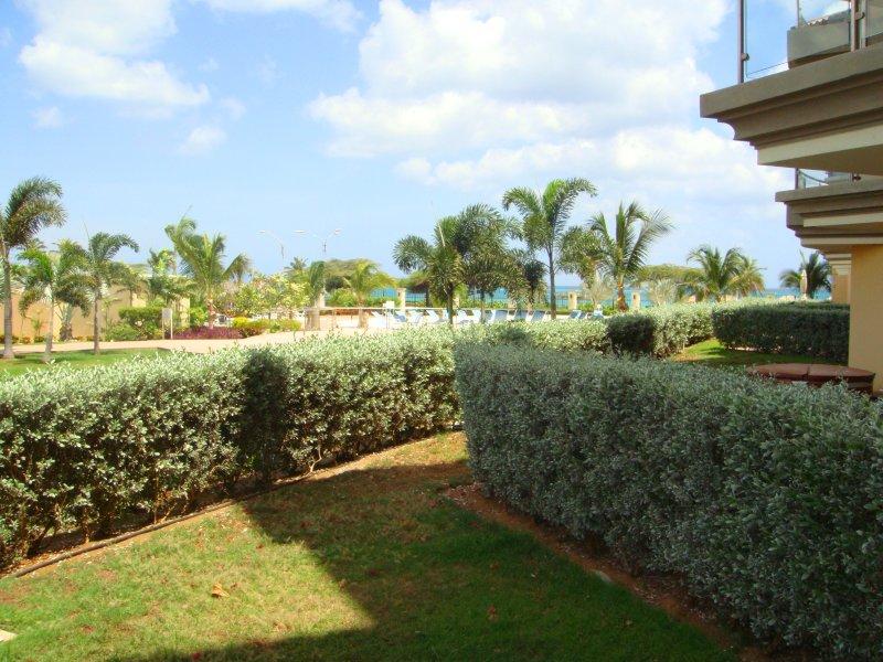 Private garden space enclosed by green hedges... - Garden Delight Studio condo - E125-1 - Eagle Beach - rentals