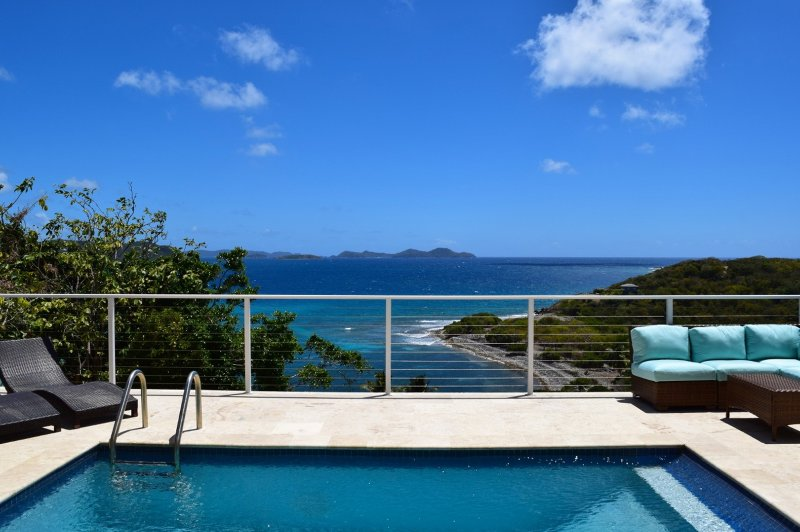The view from the pool area-- straight out to Norman Island in the BVI's! - Alice by the sea: Enchanting Views from newly renovated Villa - Coral Bay - rentals