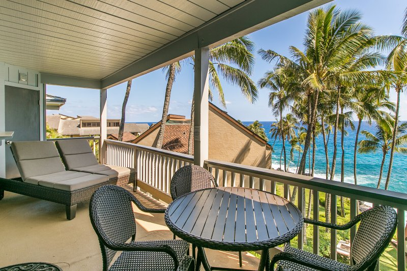 Lanai at Poipu Palms 302. - FREE mid-size car with Poipu Palms 302-Two bedroom Ocean Front - Poipu - rentals