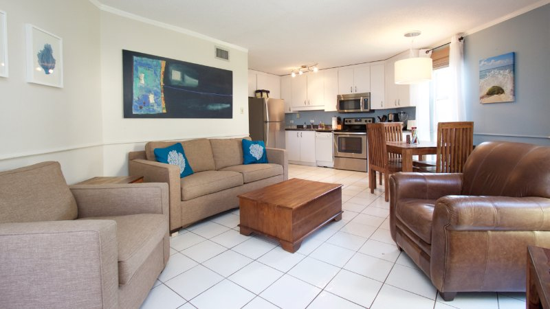 Queen sofa bed in living room - Beautiful 1Bed on Beach Cayman Reef 36 - Seven Mile Beach - rentals