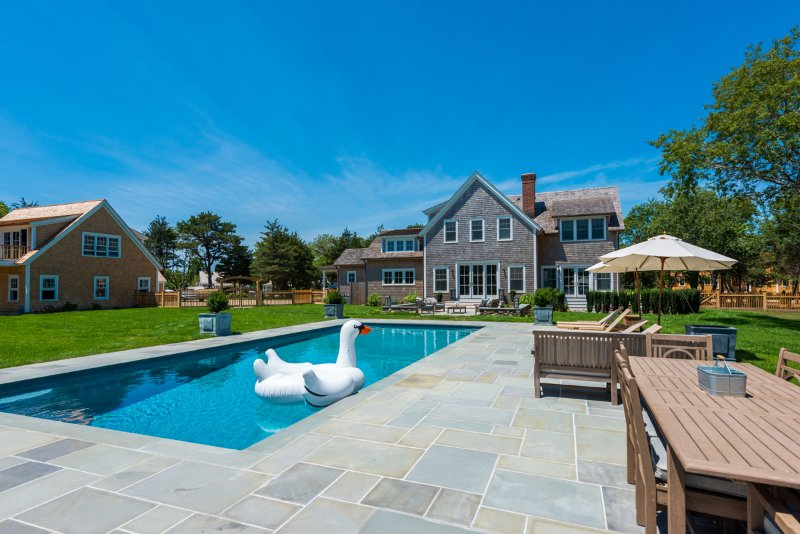 View of House from Patio Dining Area - NAIDN - Chic Luxury Home, Heated 18 x 42 Gunite Pool,  Spectacular Patios - Edgartown - rentals