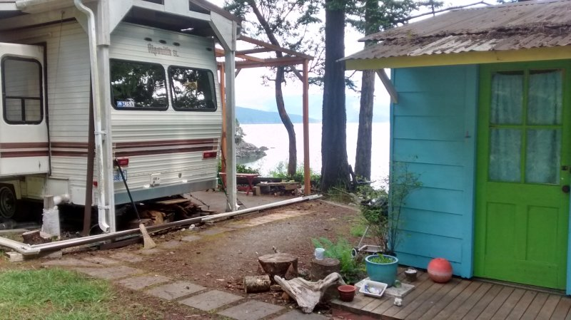 dear setting, water view. Turquoise cabin R. Space in description L. Roof over campretreat 40'Patio  - Recess Cove -  Camping/Glamping/Boating Retreat - Lopez Island - rentals