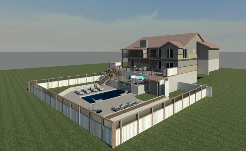 3D rendering for renovation. Volleyball pool, 5/1/17! Screen porch, outdoor kitchen,  fire pit, BA  - Lake Breeze Timbers - Lake Ozark - rentals